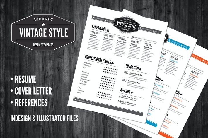 Thumbnail for 3 Piece Vintage Style Resume Pack