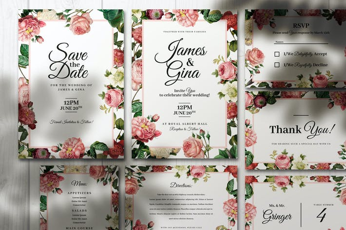Thumbnail for Invitations de mariage élégantes avec des fleurs
