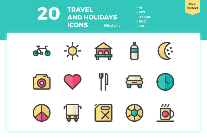 Thumbnail for 20 Travel and Holiday Icons (Filled Line)