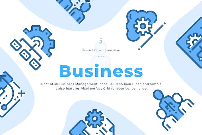 Cover Image For 30 Business Management Icons - Light Blue