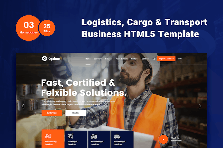 Thumbnail for Optime - Logistics & Transportation HTML5 Template