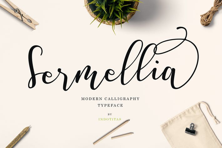 Thumbnail for Sermellia Modern Calligraphy Typeface