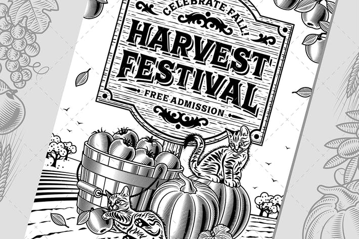 Thumbnail for Harvest Festival Poster Black And White
