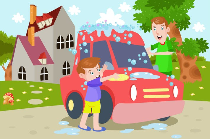Thumbnail for Boy and Daddy Washing a Car - Kids Illustration