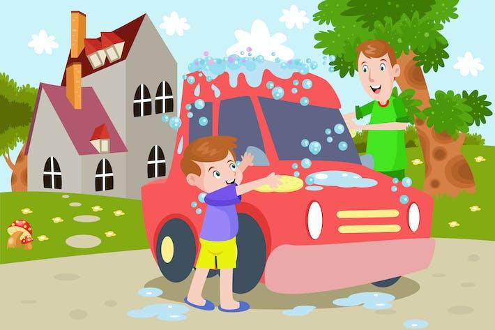 Thumbnail for Junge und Papa ein Auto waschen - Kids Illustration