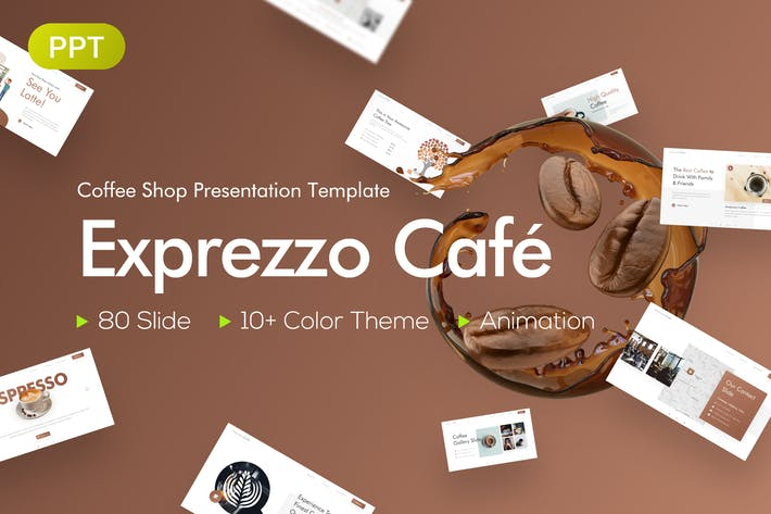 Thumbnail for Exprezzo Cafe PowerPoint PräsentationsVorlage