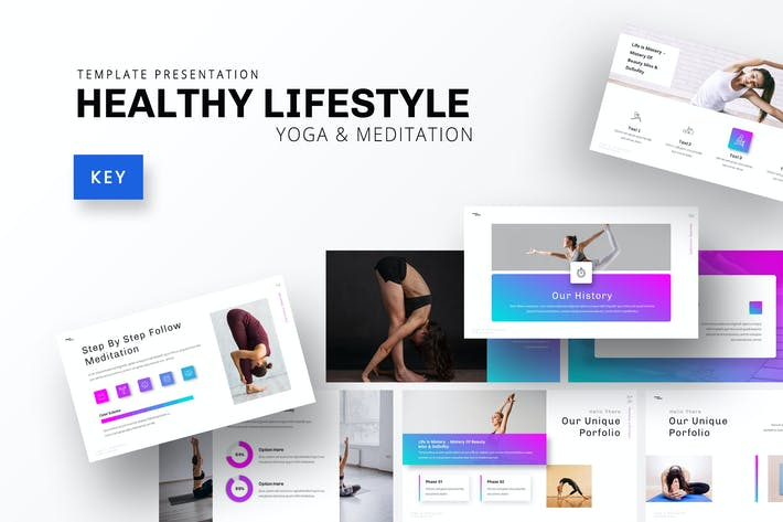 Thumbnail for Healthy Lifestyle - Yoga Keynote Template