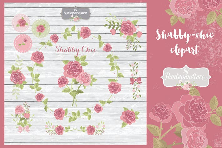 Thumbnail for Shabby-chic rose clipart