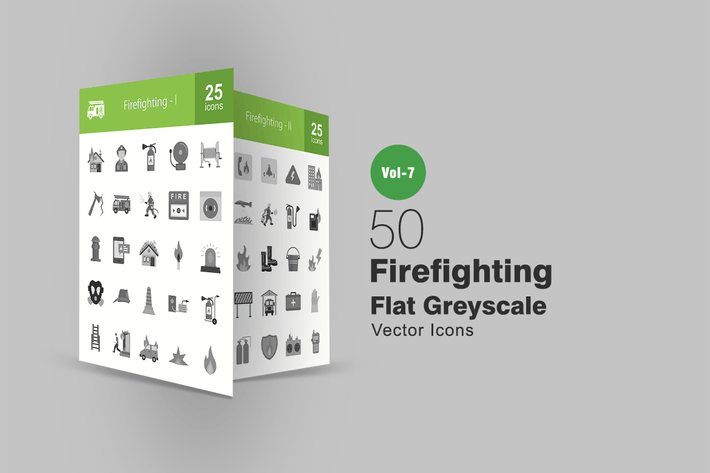 Thumbnail for 50 Firefighting Flat Greyscale Icons