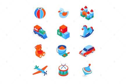 Spielzeug und Freizeitspiele - isometrische Icons