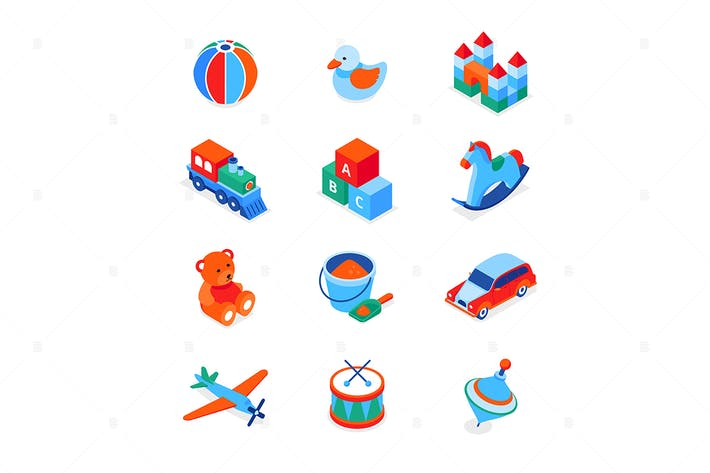 Thumbnail for Toys and leisure games - isometric icons