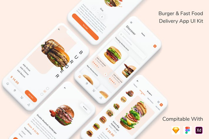 Thumbnail for Burger & Fast Food Delivery App UI Kit