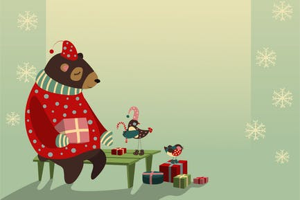 Vector christmas greeting card with bear and birds