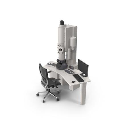 Microscopio electrónico de transmisión y silla