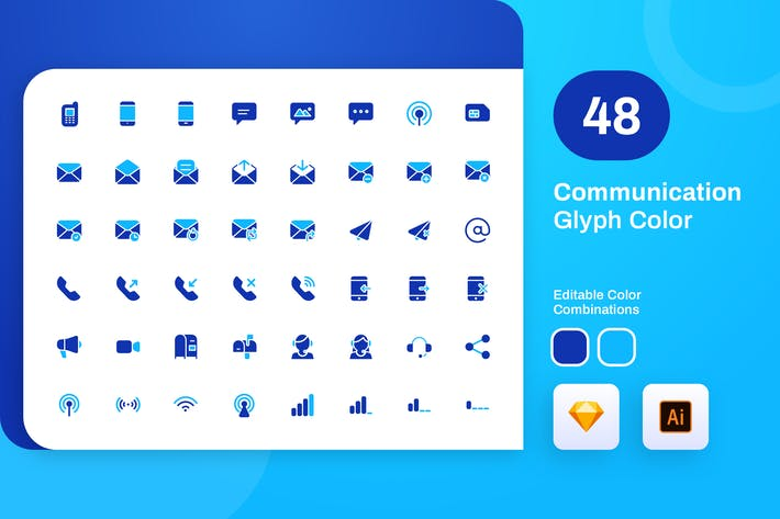 Thumbnail for Communication Glyph Color Icon Set