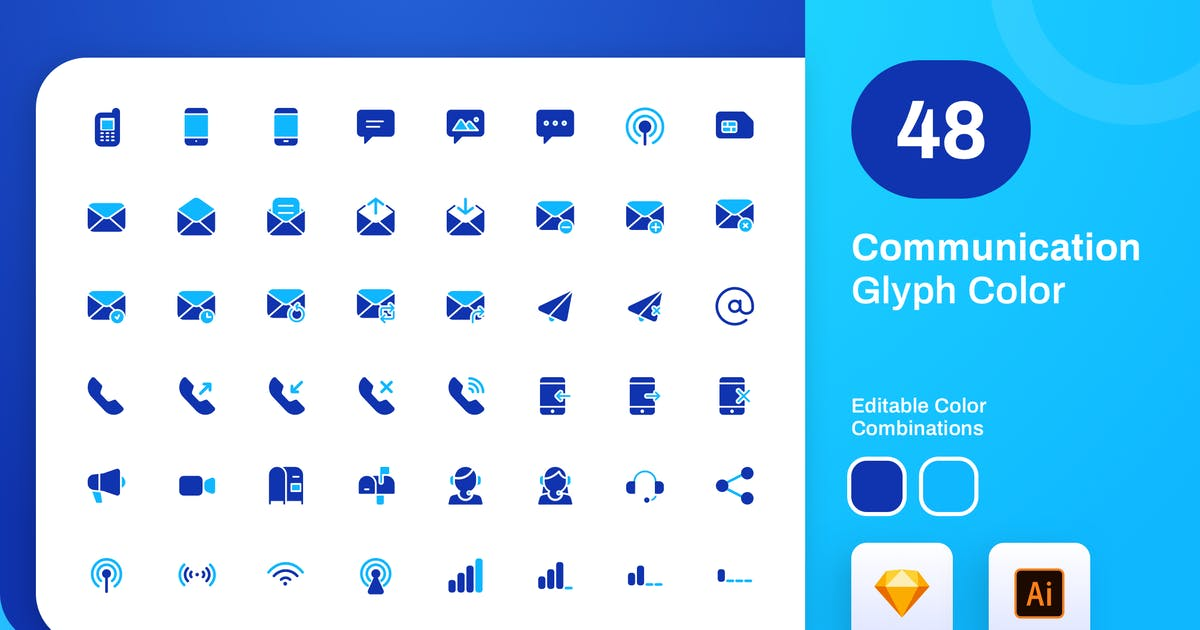 Download Communication Glyph Color Icon Set by sudutlancip