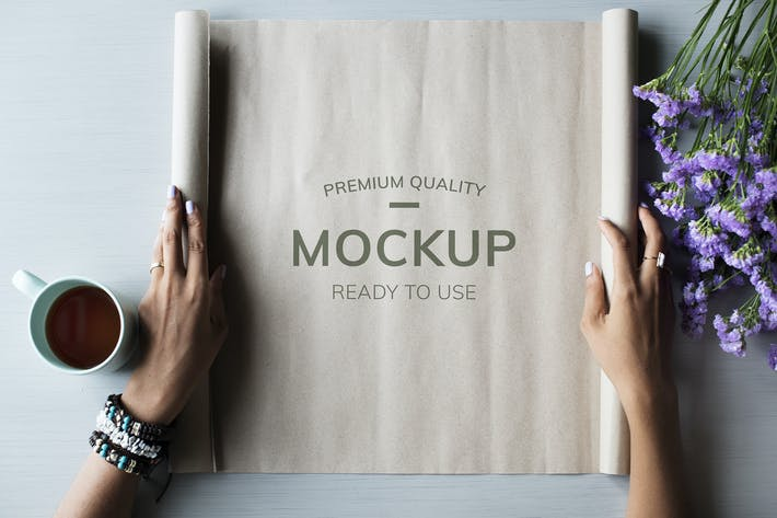 Thumbnail for Hands showing paper design Mockup