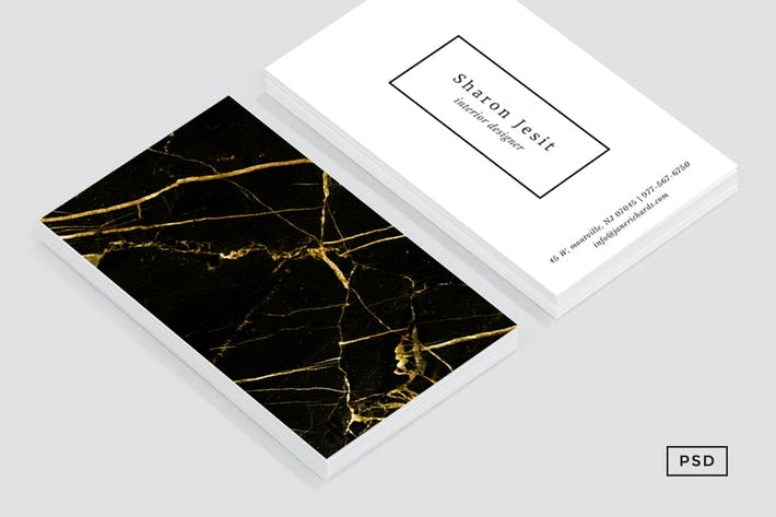 Thumbnail for Black & Gold Marble Business Card