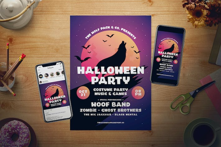 Thumbnail for Halloween Party Flyer Set