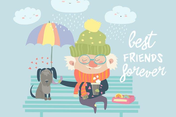 Thumbnail for Hombre con perro bajo paraguas. Mejores Amigos.