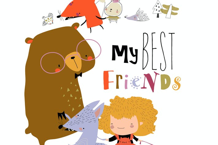 Cute cartoon girl with happy animals. Best friends