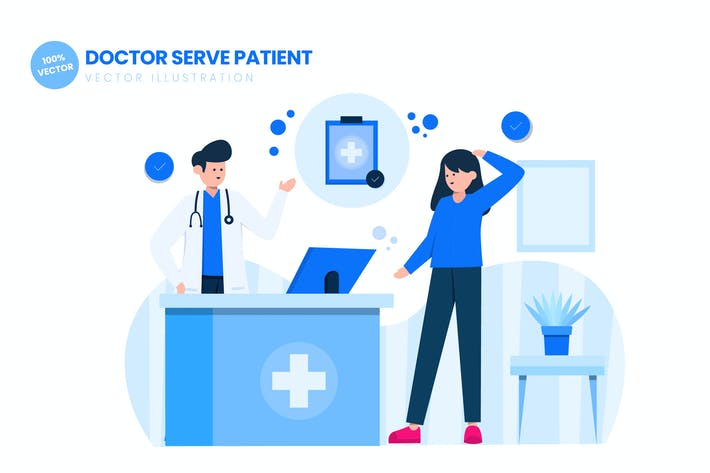Thumbnail for Doctor Serve Patient In Hospital Illustration