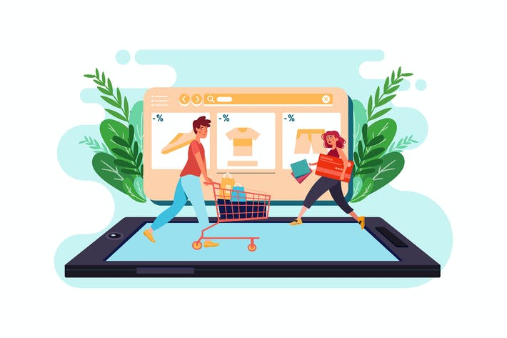 Thumbnail for People walking in an online store.