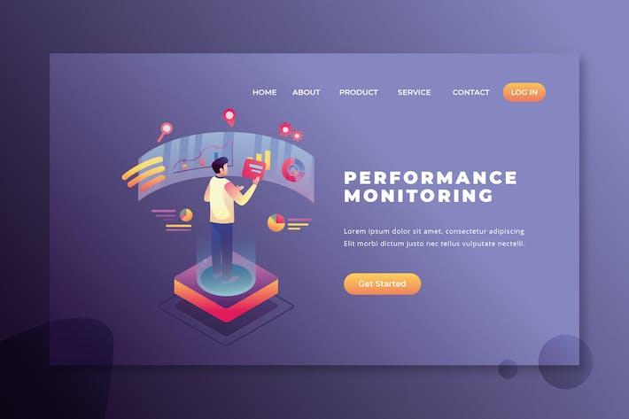 Thumbnail for Мониторинг производительности - PSD и AI Вектор Landing