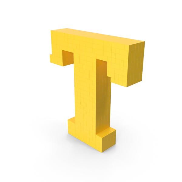 Стилизованный мультфильм Voxel Pixel Art Буква T
