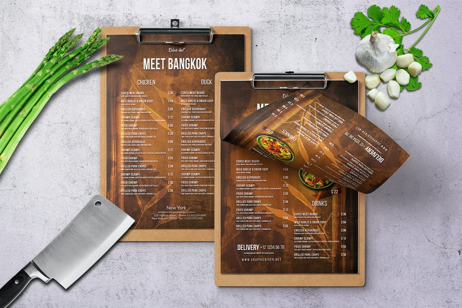 Thai A4 & US Letter Single Page Food Menu
