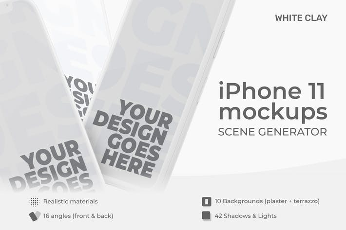 Thumbnail for iPhone 11 Pro Mockup Creator | Shadow + Light Clay