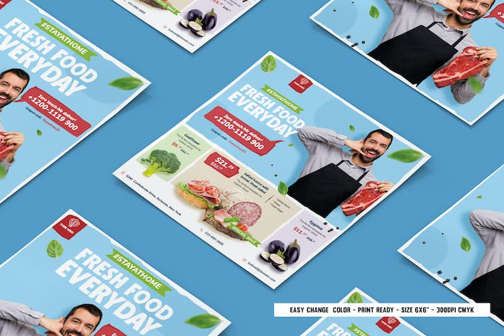 Thumbnail for Fresh food supermarket square flyer & instagram