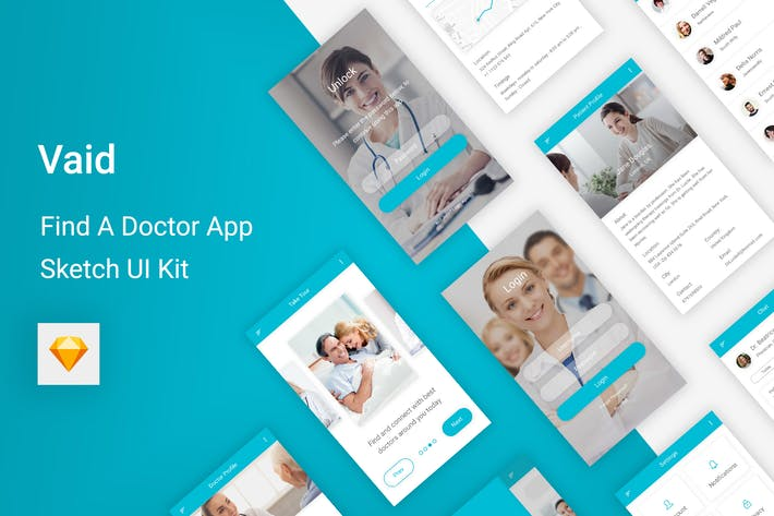 Thumbnail for Vaid - Find A Doctor UI Kit for Sketch