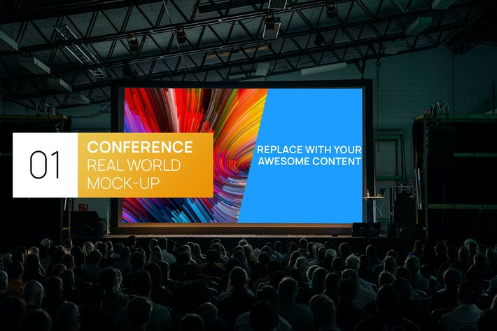 Thumbnail for Conference Hall Dark Projector Real World Mock-up
