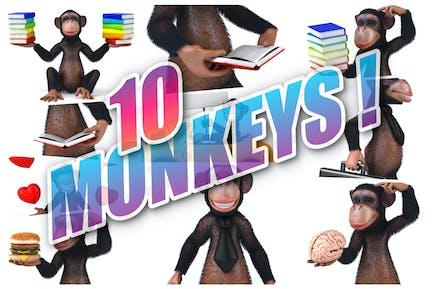 10 lustige Affen!