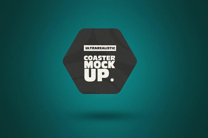 Thumbnail for Clean Hexagon Coaster Mockup