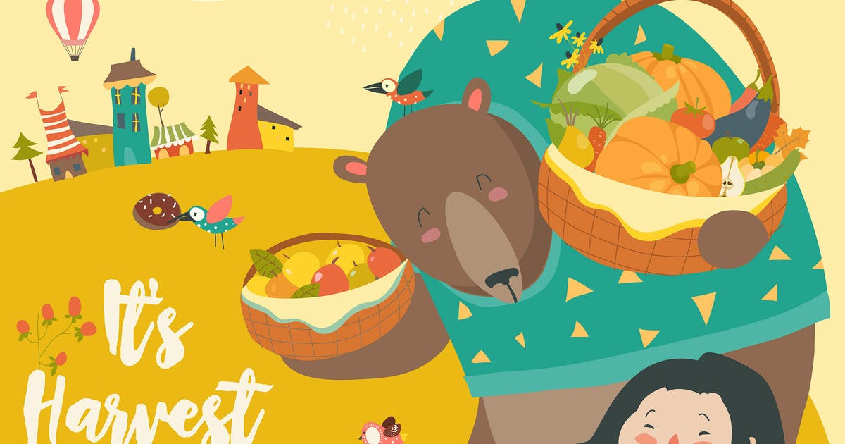 Download Funny bear with cute girl harvesting. Hello autumn by masastarus
