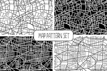 Seamless Map Pattern Set