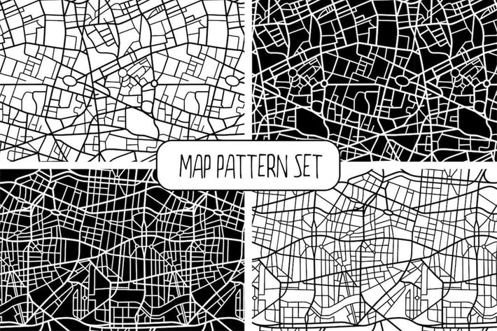 Thumbnail for Seamless Map Pattern Set