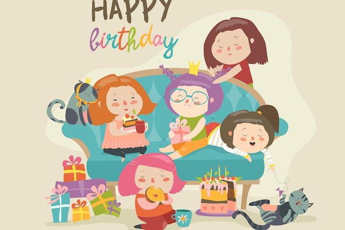 Gruppe von niedlichen Mädchen feiern Geburtstag. Mädchen