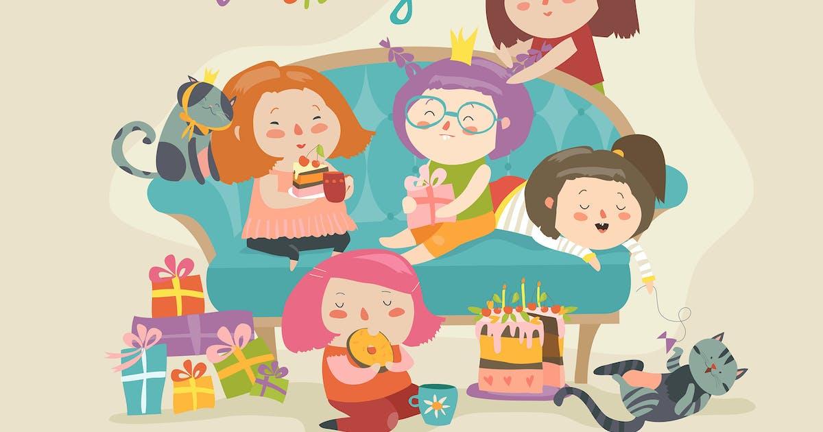 Download Group of cute girls celebrating birthday. Girls by masastarus