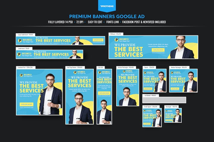 Thumbnail for Business Banners Ads Template V04