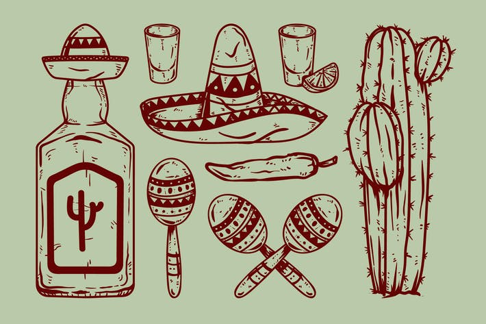 Mexican Cinco De Mayo Theme Drawing