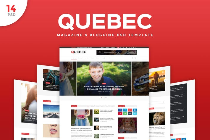Thumbnail for Quebec - News, Magazine & Blogging PSD Template