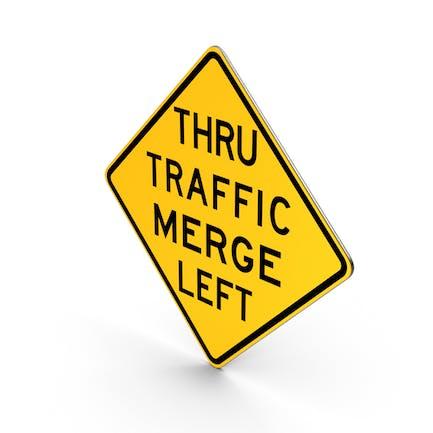 Road Sign Thru Traffic Merge Left