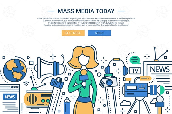 Thumbnail for Mass Media Today - line design website header