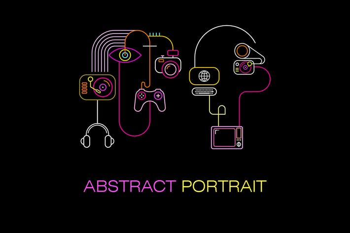 Cover Image For Abstract Neon Faces vector illustration