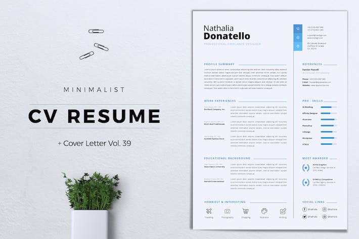 Thumbnail for Minimalist CV Resume Vol.39