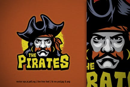 pirate captain head mascot logo
