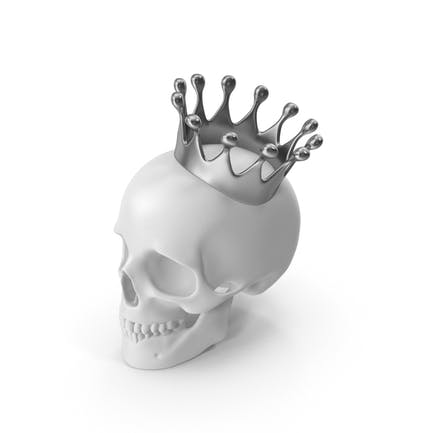White Skull With Silver Crown